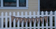 Burlap banner made by Endure Upcycled Designs